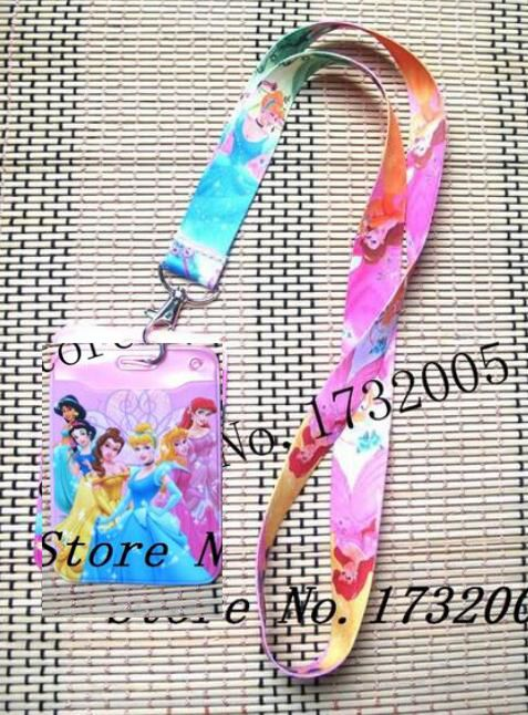 1 Pcs  Princess Credit Card Holders Bank Card Neck Strap Card Bus ID Holders Identity Badge With Lanyard Key Chains K20