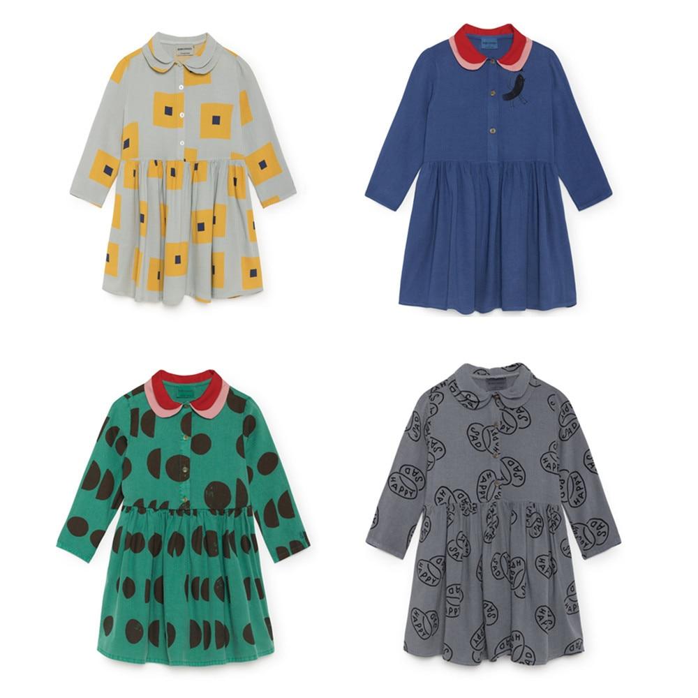 все цены на Presale 2018 Autumn New lapel long sleeve princess dress moon dress BOBO CHOSES Bird dress baby clothes girl children's clothin
