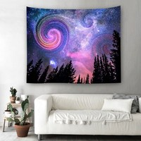 Forest Starry Tapestry Night Sky Wall Hanging Tapestry Home Decoration Tapestry For Living Room Bedroom Dorm