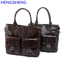HENGSHENG Popular genuine leather men shoulder bag for fashion business men shoulder bag and men handbags by cow leather men bag