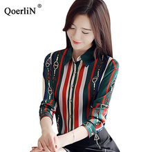 QoerliN Printed Long Sleeve Blouse Women 2019 Fashion Spring Elegant Turn-Down Collar Shirts OL Formal Ladies Plus Size