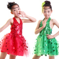 Hot Sell Children Kids Sequins Fringe Stage Performance Dress Competition Girls Ballroom Dance Costumes Latin Dance Dress