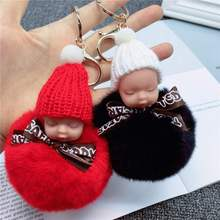 Söta barn plysch leksak babay plysch fyllda dockor för barn kawaii nyckelring ring plysch hänge för flickor barn baby födelsedag