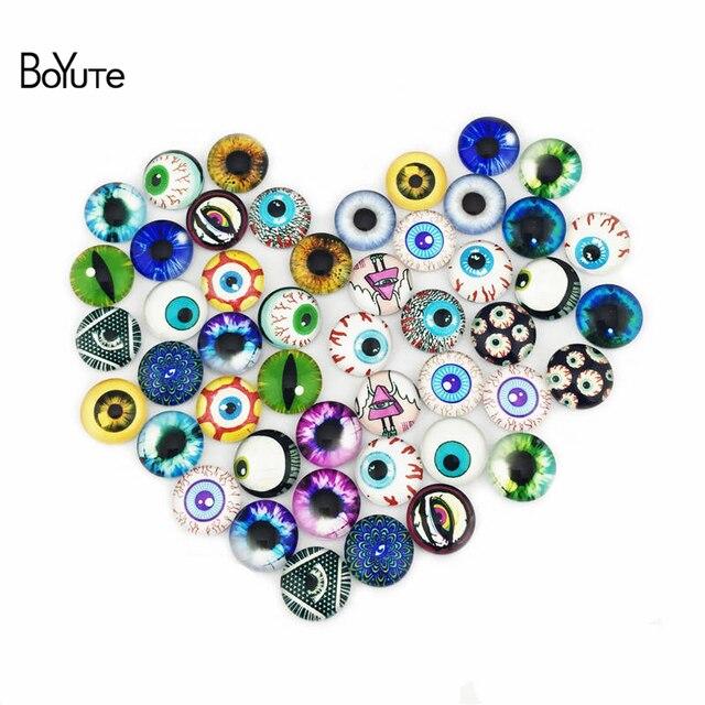BoYuTe 48Pcs Round 12MM Glass Cabochon Mix Image Animal Eye Stone Cabochon Diy Jewelry Accessories