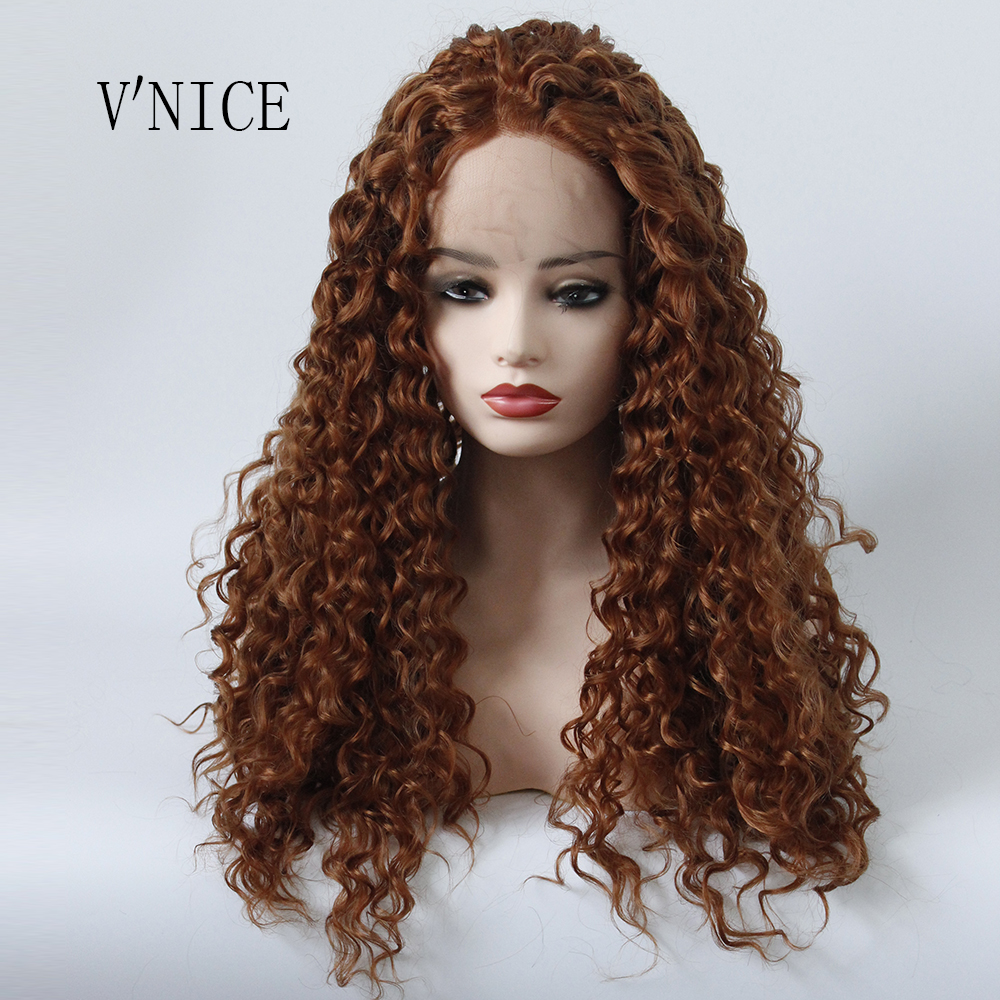 Blonde Curly Hair Middle Part Wig Hand Tied Brown Color Resistant High Temperature Synth ...