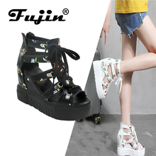Fujin Brand 2019 Spring and Summer New High-heeled Sandals Wedge with PU Straps Printed Roman Retro Style High Quality