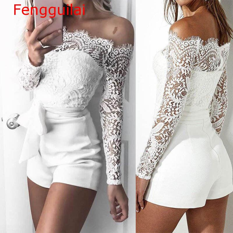 Women   Jumpsuit   2019 Summer Autumn Sexy Lace   Jumpsuit   Women Off Shoulder   Jumpsuit   Bodycon Playsuit Short Trousers White Romper