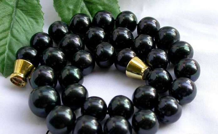 """150401 J0008 huge 17"""" 12-14mm round Tahitian black freshwater pearl necklace magnet free shipping USPS to ISA RUSSIA"""