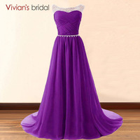 Free Shipping In Stock Beaded Evening Dresses A Line Colorful Chiffon Sleeveless Vestido De Festa Party