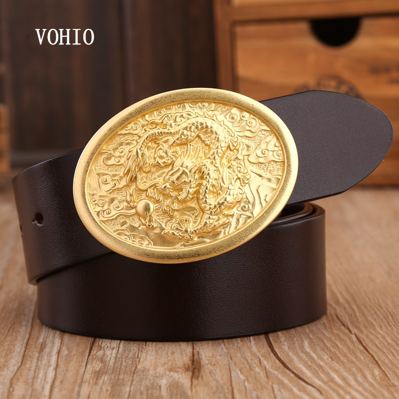 VOHIO 2017 Luxury Dragon Snap Buckle Oval Genuine Leather Belt Men Designer Belts High Quality Jeans Straps Wide Italian leather