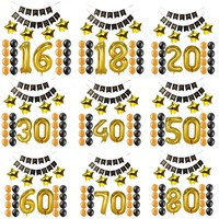 1 16 18 20 21 30 40 50 60 70 80 лет с днем рождения Бумага баннер номер шары kid взрослых День рождения украшения пользу