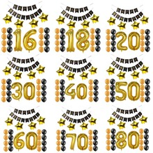 1 16 18 20 21 30 40 50 60 70 80 years old happy Birthday Paper Banner Number balloons kid Adult Birthday Party Decoration favor