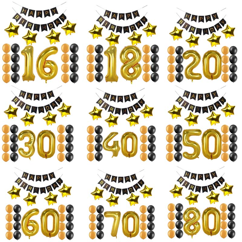 1 16 18 20 21 30 40 50 <font><b>60</b></font> 70 80 years old <font><b>happy</b></font> <font><b>Birthday</b></font> Paper Banner Number balloons kid Adult <font><b>Birthday</b></font> Party Decoration favor image