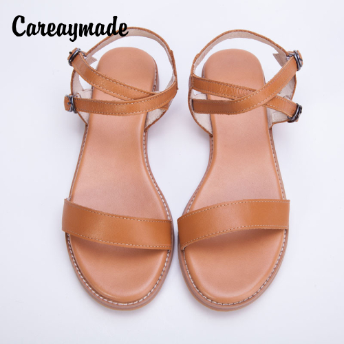 Careaymade new head layer cowhide pure handmade Leisure simple literature and art Sandals retro art mori