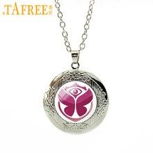 TAFREE Fashion Summer jewelry Electronic Music Festival Tomorrowland locket Necklace Glass cabochon photo locket pendant WNK206(China)