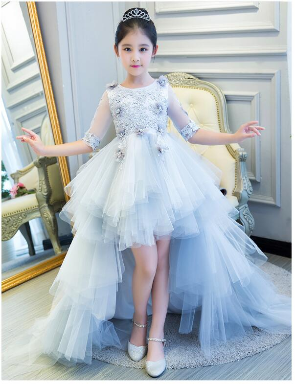 Girl's Wedding Formal Dresses 2018 Long Tailing Tiered Gauze Gowns Flowers Girls Princess Dress Kids Birthday Party Prom Dress long criss cross open back formal party dress