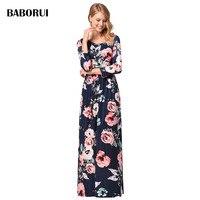 Baborui Brand Women Casual Dress Elegant Print Long Dress Spring Autumn Fashion Dress Weibliches Kleid Vrouwelijke