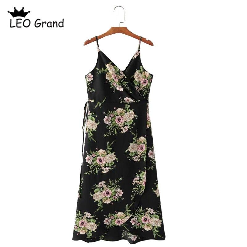 Leo Grand font b women b font sexy spaghetti strap V neck font b dress b