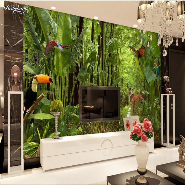 Beibehang Grande Fresque Tropical Forêt Tropicale Tv Chambre Toile