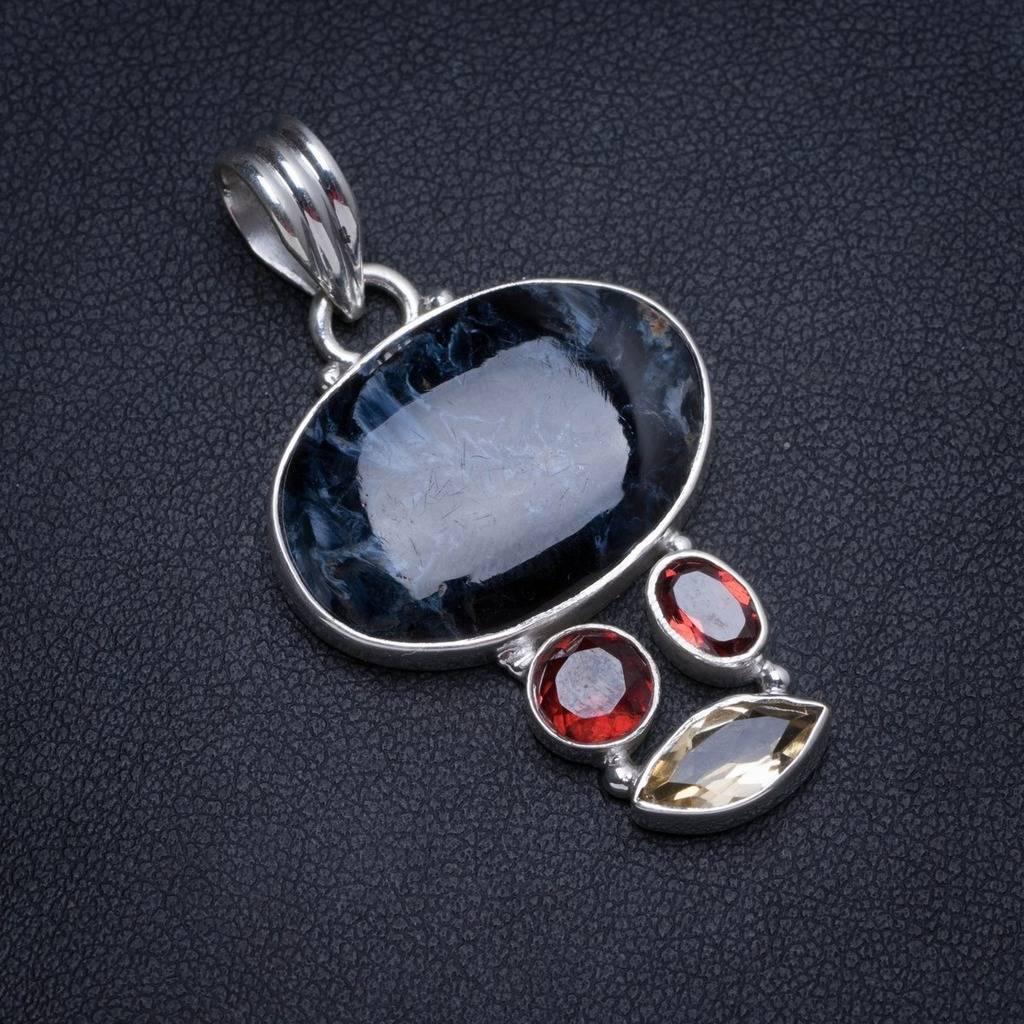 Natural Pietersite Garnet and Citrine Handmade Unique 925 Sterling Silver Pendant 1.75