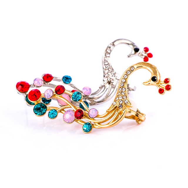 c956477458161f 1 PCS Chic Elegant Colorful Peacock Crystal Left Ear Cuff Bling Exquisite  for Women Ear Clip Wrap Jewelry Fashion Earcuff