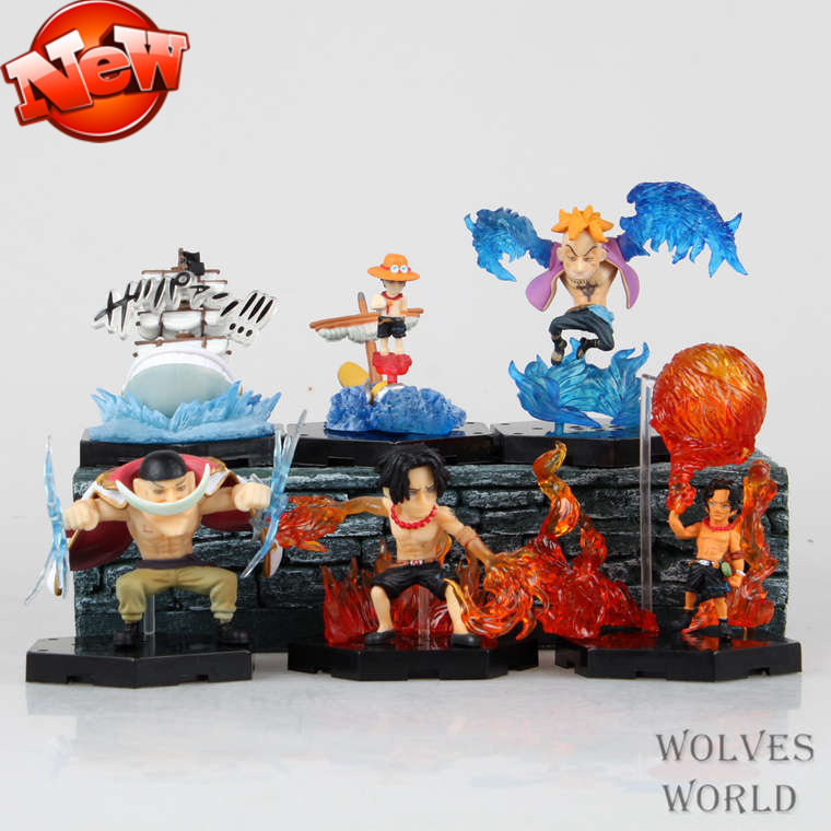 Free shipping One Piece anime memories Exelon white beard Marco Q version 6pcs/set PVC Figures Collectible Toys boxed hand to do patrulla canina with shield brinquedos 6pcs set 6cm patrulha canina patrol puppy dog pvc action figures juguetes kids hot toys