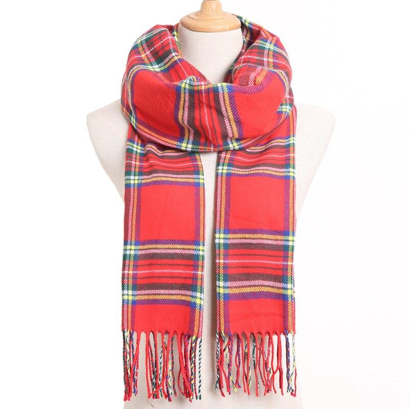 [VIANOSI] клетчатый зимний шарф женский тёплый платок одноцветные шарфы модные шарфы на каждый день кашемировые шарфы - Цвет: 21