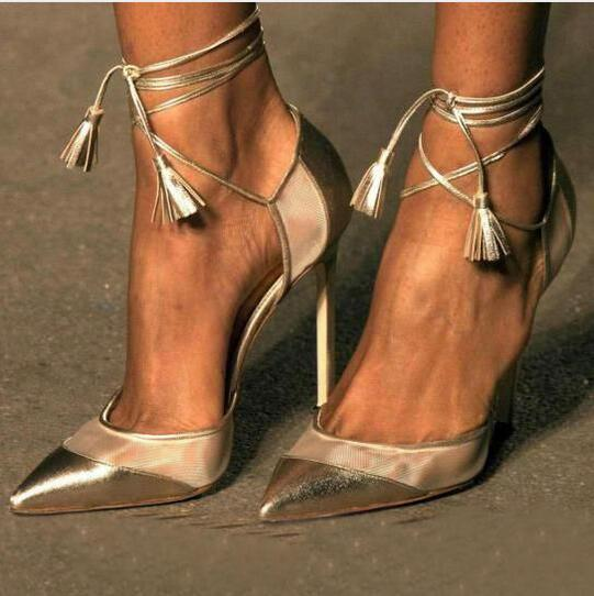 New Summer Women Elegant Champagne Gold Lace Up Thin High Heel Shoes Pointed Toe Patchwork Fringe Ankle Strap Dress Party Pumps new hollow pointed stiletto elegant spring summer women pumps sweet bowknot high heeled shoes thin pink high heel shoes k88