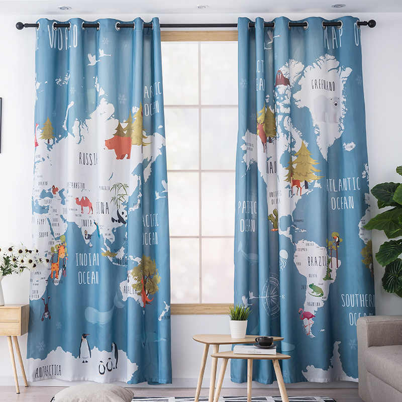 Colorful Animal World Map Printed Kids Curtains For Living Room Boys Girls Bedroom Study Balcony Shade Children S Room Curtain Aliexpress,Single Bedroom Small 1 Bedroom Apartment Design Plans