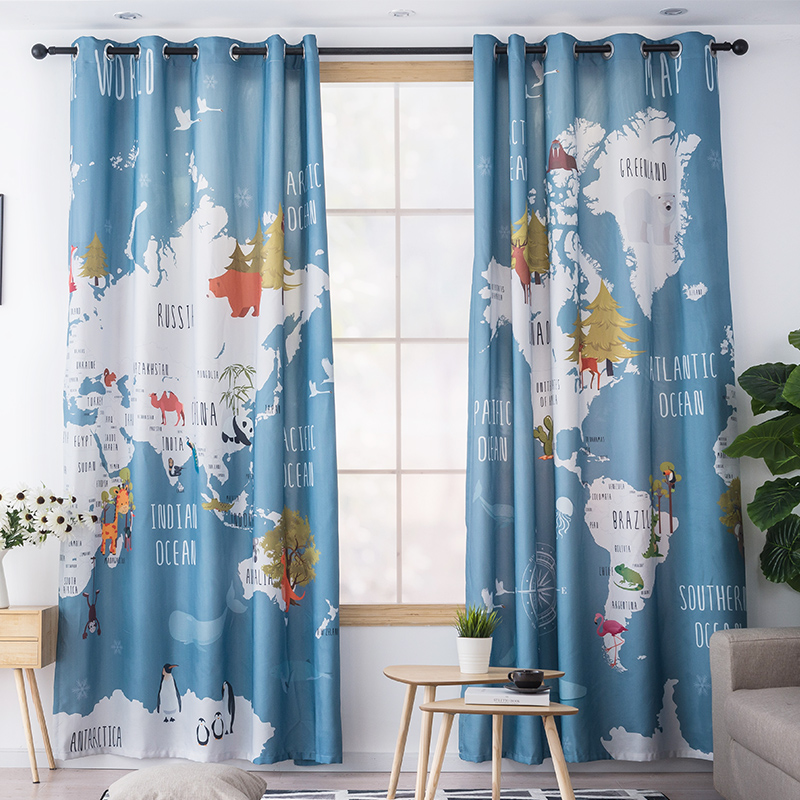Colorful Animal World Map Printed Kids Curtains For Living