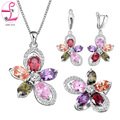ZHE FAN Fashion Ladies Jewellery Sets Girl Flower Ring Earrings Necklace Green Blue Red Zircon Bridal Jewelry Set Gift Box