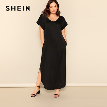 SHEIN Plus Size Black Slant Pocket M-Slit Hem Maxi Dress 2019 Women Summer Casual Pocket V neck Short Sleeve Solid Long Dreeses