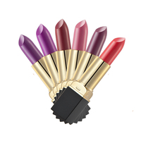 Professional Grade Black Gold Matte Lipstick Lip Gloss Set 6 PCs Set