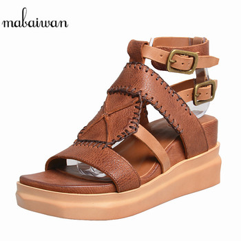 Mabaiwan Casual High Heel Platform Buckle Gladiator Wedges Shoes For Woman Sandals Brown Genuine Leather Platform Peep Toe Pumps