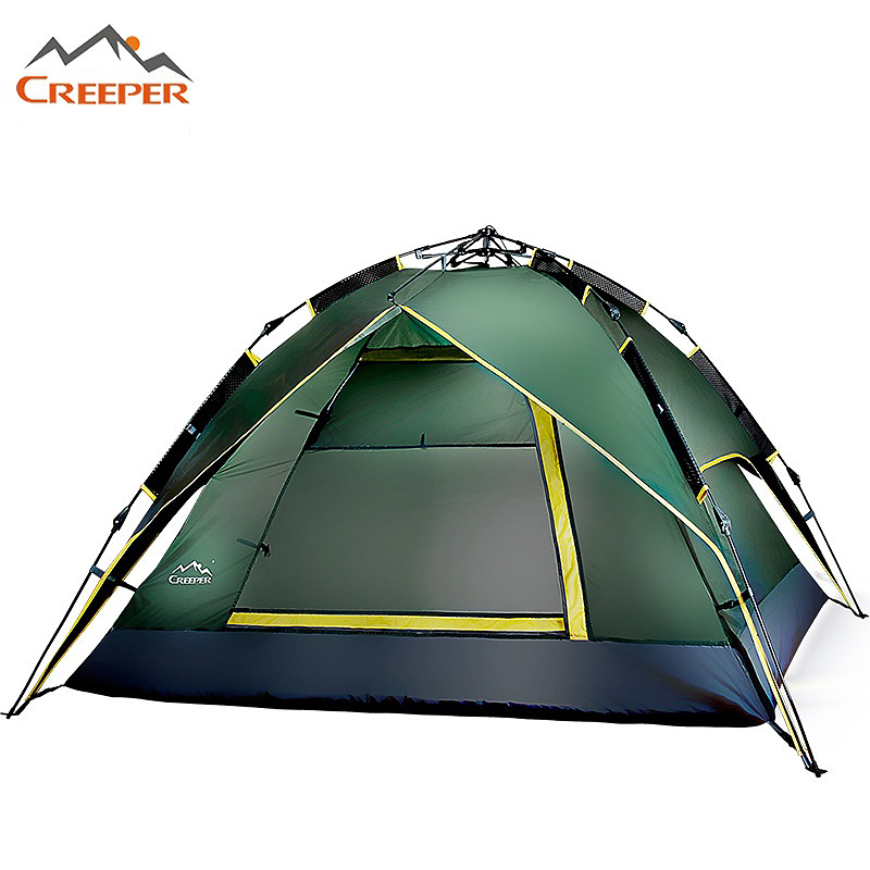 Quality Double Layer 4 Person Tent Rainproof Windproof Ourdoor Camping Tent Professional Waterproof Hiking Fishing Hunting Tent high quality outdoor 2 person camping tent double layer aluminum rod ultralight tent with snow skirt oneroad windsnow 2 plus