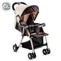 GL дети Детские Коляски складной детской коляски сплав Сталь зонтик Корзина Коляски складной может сидеть может лежать тележка лето зима