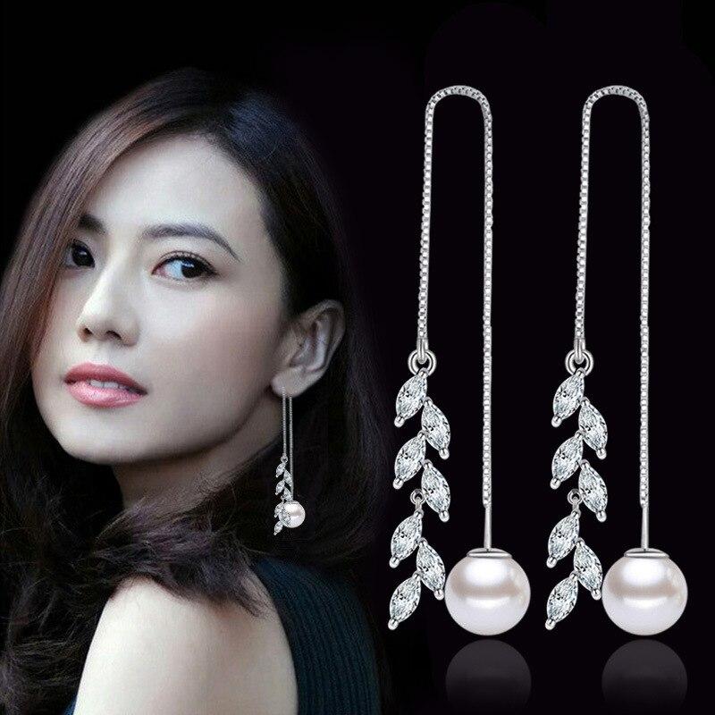 925 sterling silver fashion leaf crystal lpearl jewelry female long drop earrings women birthday gift drop shipping