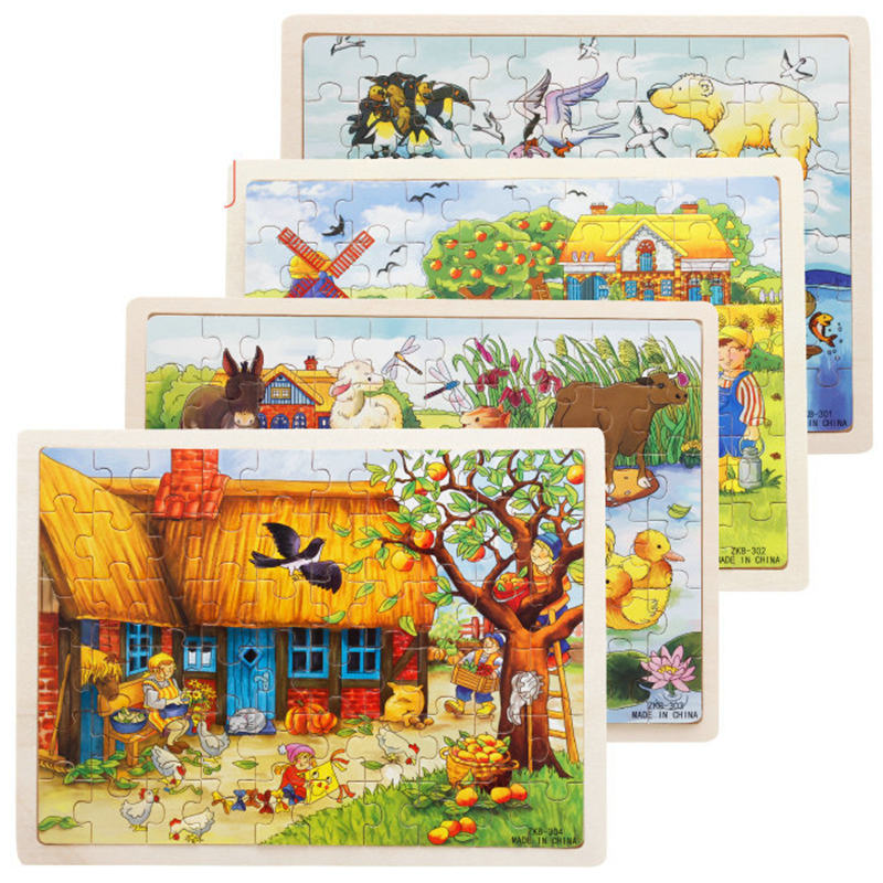 60pcs Cartoon Wooden Toys 8 STYLES 3D Wooden Puzzle Jigsaw Puzzle For Child Educational Toy
