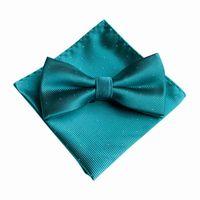 7 Color Men's Fashion Bowtie Hanky Set Groom Gentleman Dots Cravat Pocket Towel Handkerchief Wedding Party 4