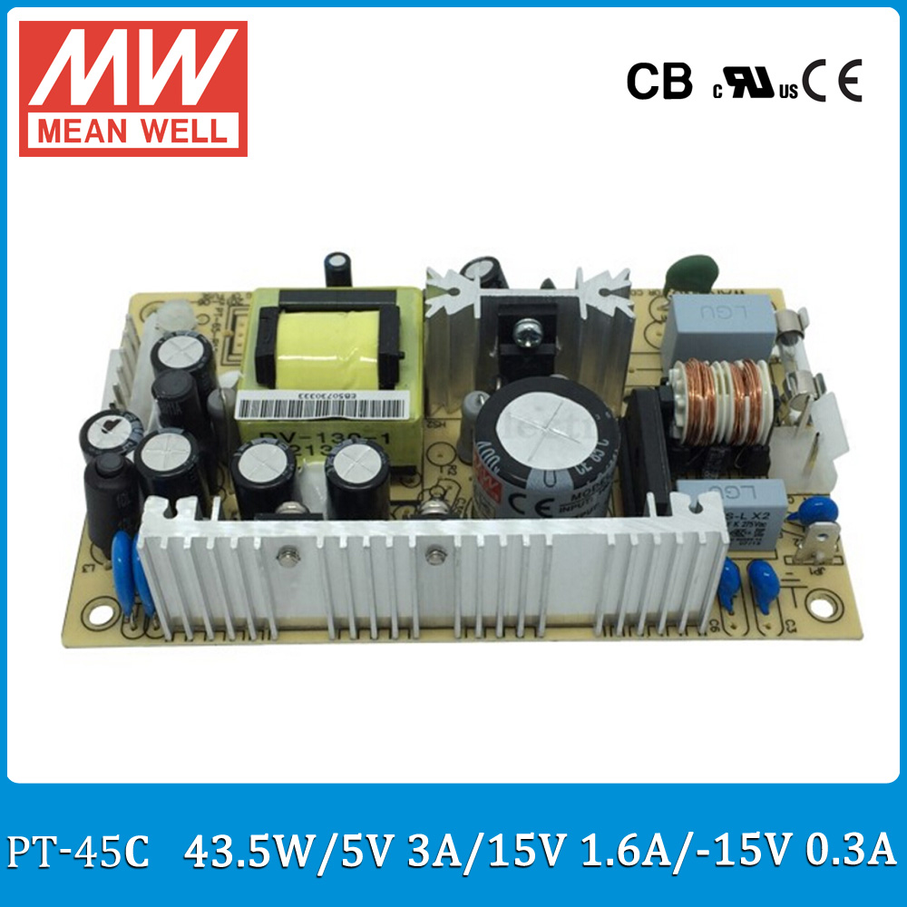 Original MEAN WELL PT-45C 45W triple output 5V 15V -15V Switching Power Supply open frame type PT-45