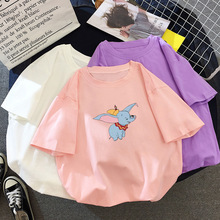 2019 New Loose Pink Solid Dumbo Short Sleeve T-shirt Women S