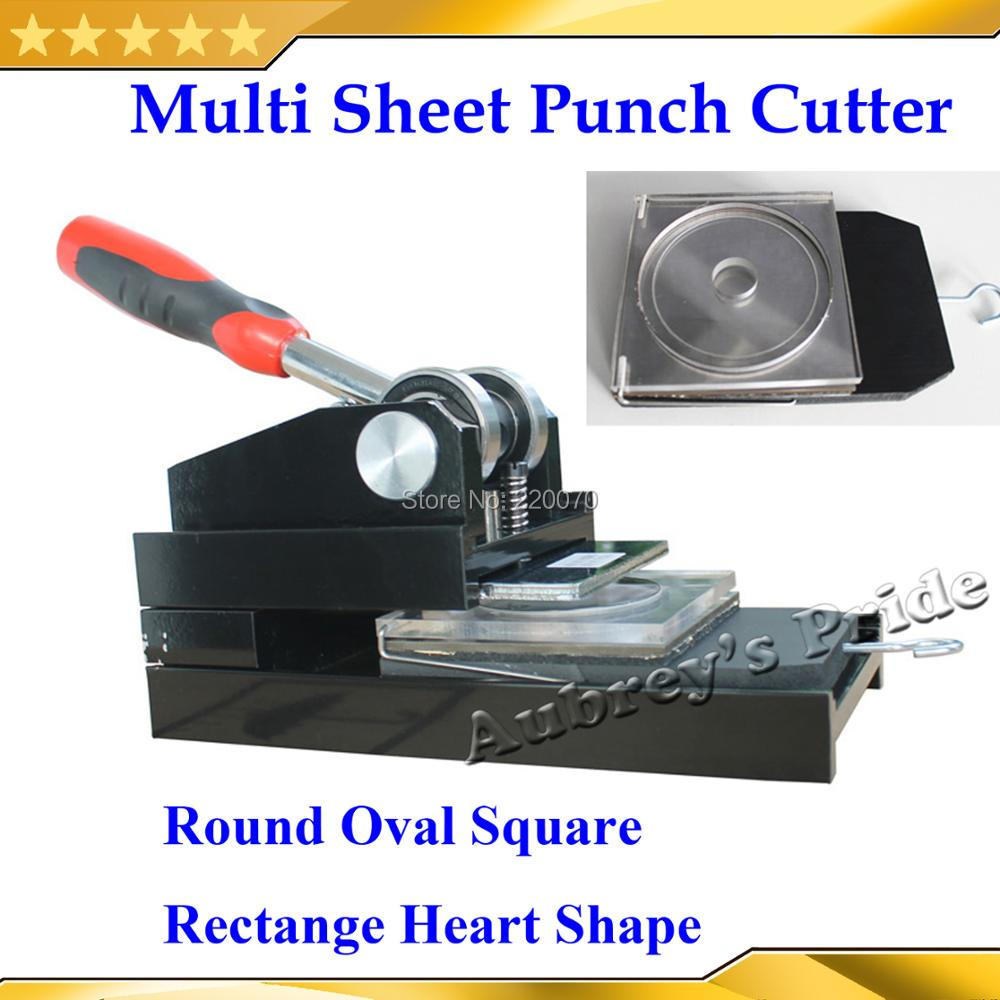 Small Size 25 32 37 44 50 56 58 75mm Heart Oval Rectang Multi Sheet Change Cutting Board Paper Graphic Punch Cutter Button Maker