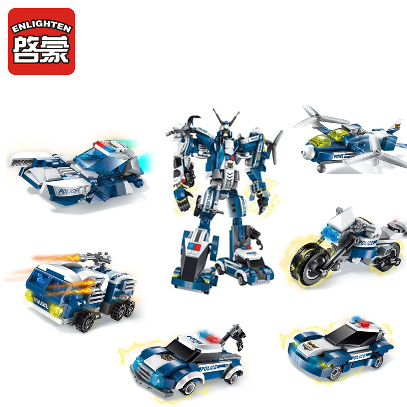 1407 ENLIGHTEN 6 IN 1 Police Robot The Raging Warrior Model Building Blocks Action Figure Toys For Children Compatible Legoe decool 3117 city creator 3 in 1 vacation getaways model building blocks enlighten diy figure toys for children compatible legoe