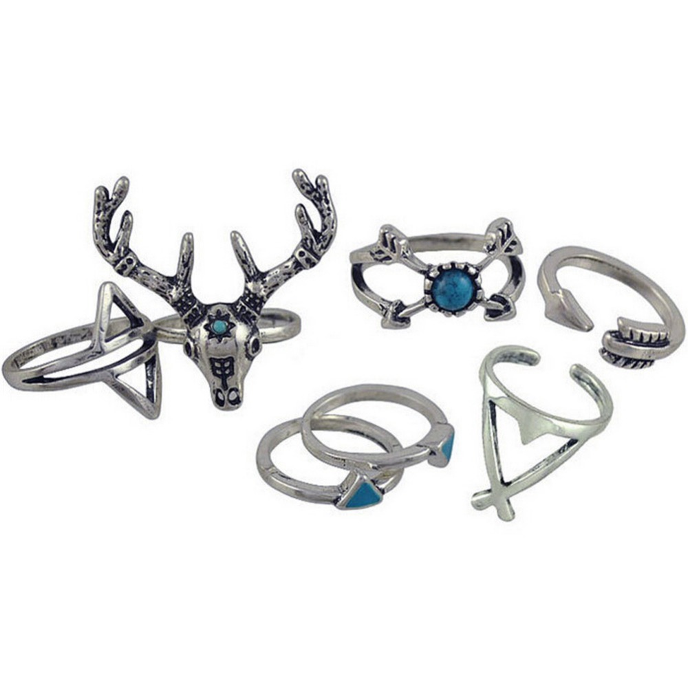 7pcs/set Vintage Ethnic Bohemian BOHO Ring Deer Anillos De Animales Bague Punk Women Jewelry Wholesale