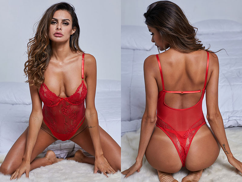 Red-Yummy-Scalloped-Lace-Teddy-Lingerie-LC32095-3-4