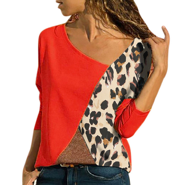 Plus Size Leopard Patchwork Blouse Women Shirts Color Block Long Sleeve Autumn Winter Basic Womens Tops and Blouses 5XL SJ1585M 1
