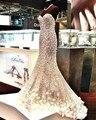 Sweetheart Sin Respaldo Brillante Con Cuentas de Cristal de Lentejuelas de Oro Honorable Sirena Formales Vestidos de Noche Larga de Las Mujeres 2017 de Imagen Real