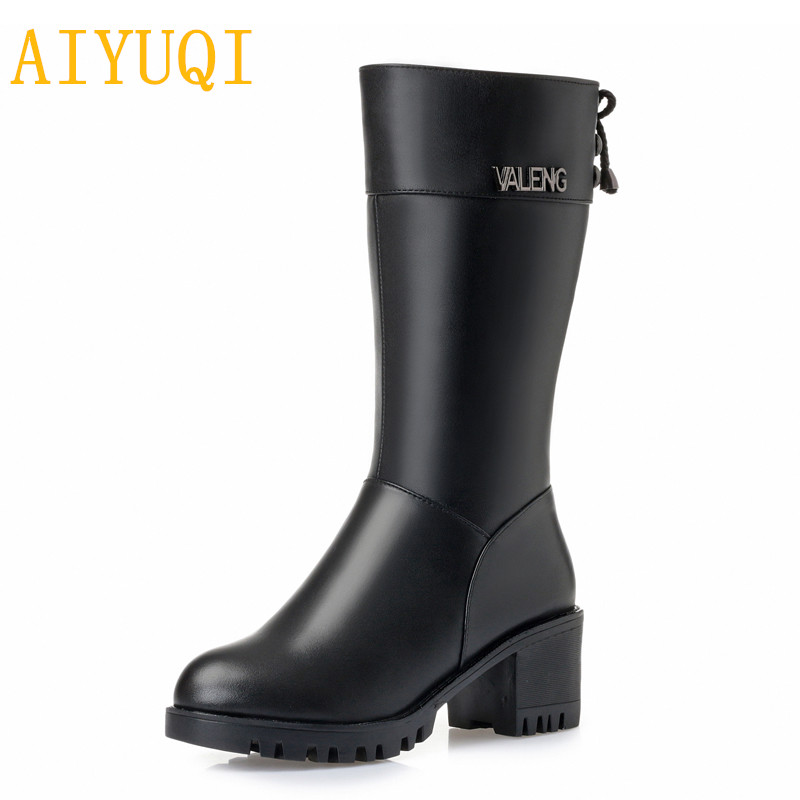 AIYUQI Female snow boots winter 2018 new genuine leather female motorcycle boots, large size 35-43 warm wool boots women shoes aiyuqi women s winter boots 2018 new fashion genuine leather warm wool boots women motorcycle ladies shoes big size 41 42 43