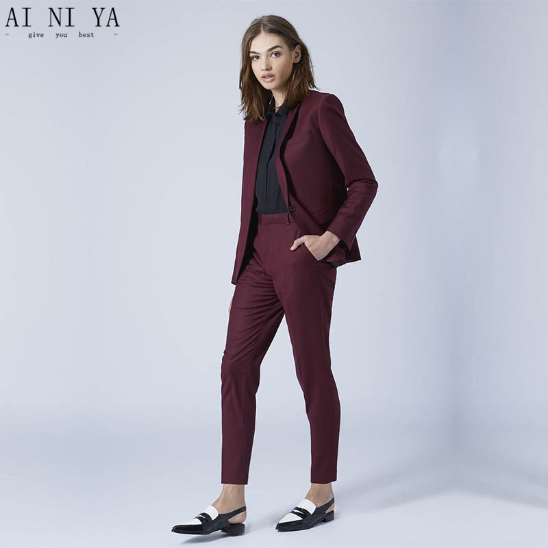 Nouveau raisin femmes daffaires costumes 2 pièce blazer ensemble slim fit femme pantalon costumes dames bureau uniforme élégant pantalon costumes