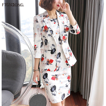 FTGSDLONG 2019 Women 2 Piece Blazer Set New Fashion Dress Suits for Lady Full Button Flower Print and Sleeveness Dresses